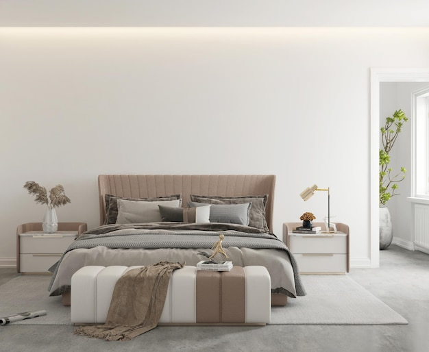 Camera da letto moderna minimalista con parete mockup