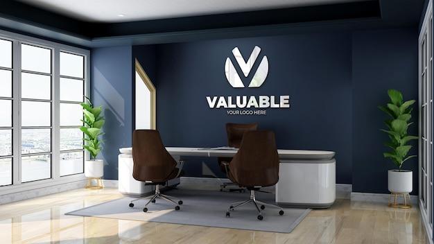 Mockup del logo della parete della stanza del manager dell'ufficio business moderno e minimalista
