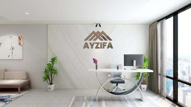 Interior design minimalista moderno del mockup del logo della sala riunioni