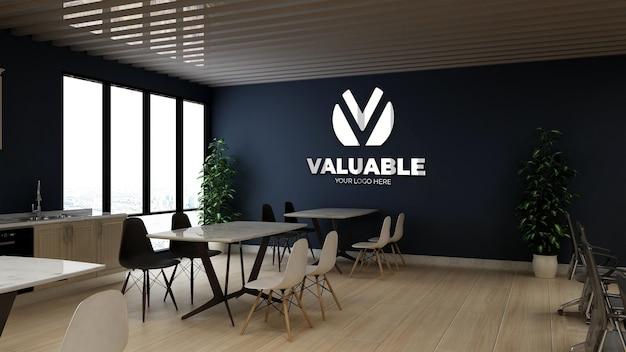 Mockup del logo della parete della dispensa dell'ufficio moderno e minimalista