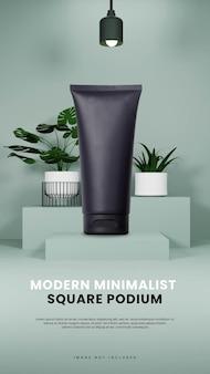 Podio moderno e minimalista con ritratto di piante e lampade