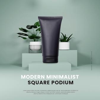 Podio moderno e minimalista con pianta quadrata