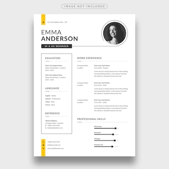 Modello di curriculum o curriculum moderno e minimalista