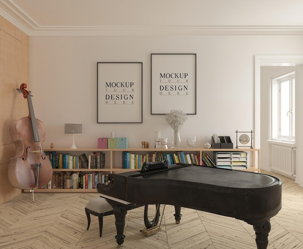 Sala della musica moderna con poster mockup di pianoforte