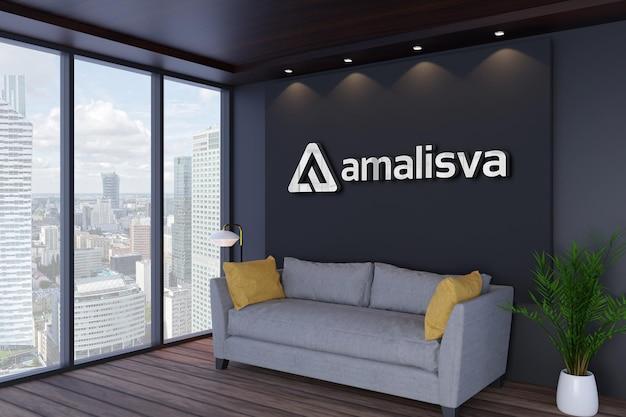 Mockup di logo della parete interna dell'ufficio moderno