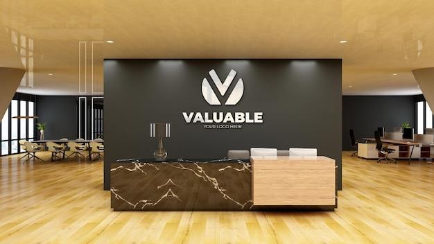 Mockup di logo della parete della sala d'attesa della hall dell'ufficio moderno
