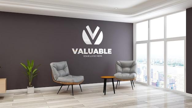 Mockup del logo della parete della sala d'attesa dell'ingresso dell'ufficio moderno