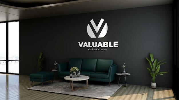 Mockup realistico del logo della parete della sala d'attesa dell'ingresso dell'ufficio moderno