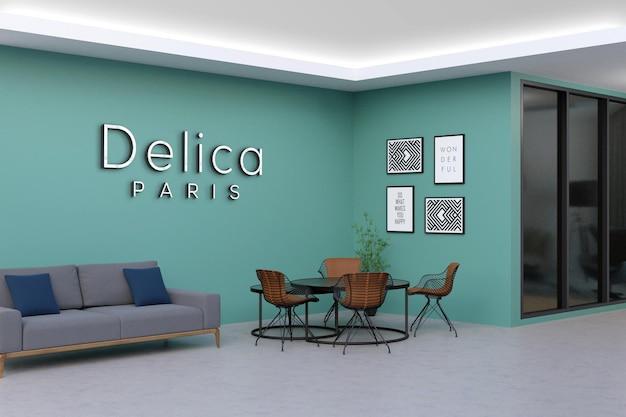 Design mockup logo moderno muro ufficio