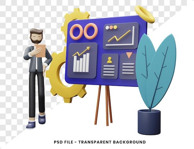 Illustrazione 3d di concetto di progetto di organizzazione moderna