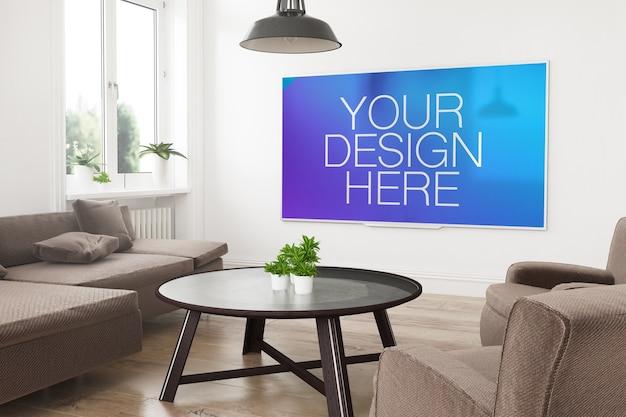 Mockup di smart tv panoramica moderna su un rendering 3d del soggiorno
