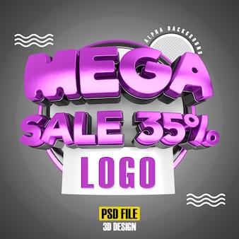 Modello moderno di promozione 35 banner mega vendita rosa 3d