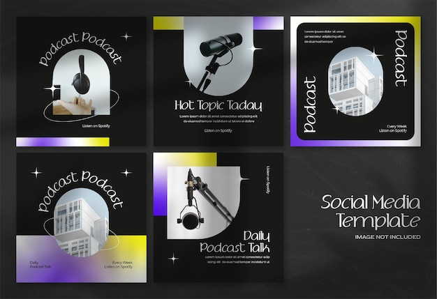Banner di social media podcast moderno e modello di post instagraminstagram