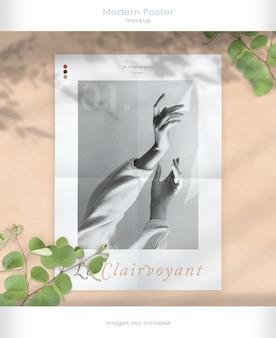Mockup di poster moderno con sovrapposizioni di foglie d'ombra