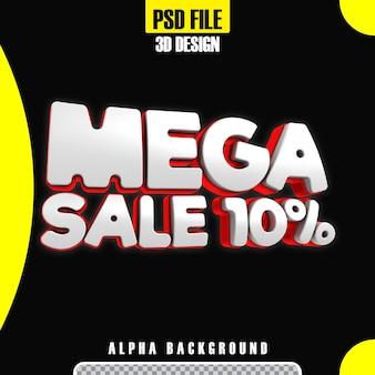 Modello di promozione 10 banner mega vendita 3d rosso moderno modern Psd Premium