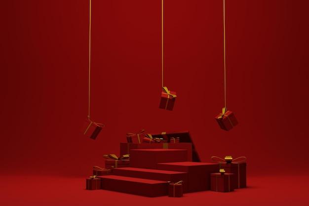Fondo rosso moderno della scena del podio di natale per la pubblicità del prodotto