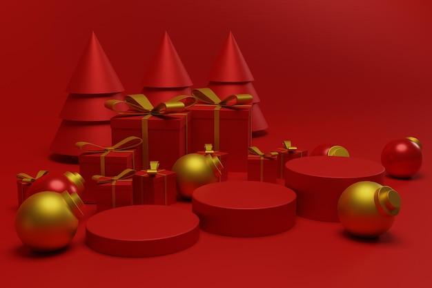 Fondo rosso moderno della scena del podio di natale per l'esposizione del prodotto