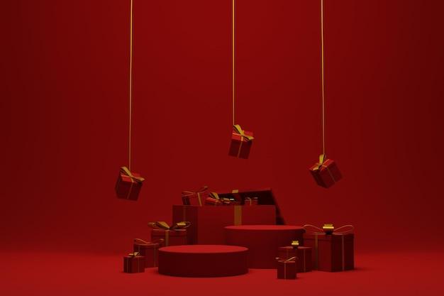 Fondo rosso moderno della scena del podio di natale per la presentazione del prodotto