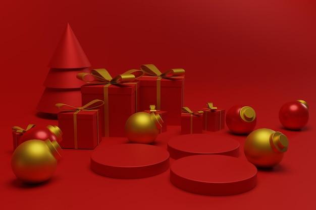 Scena rossa moderna del podio di natale per lo stand del prodotto