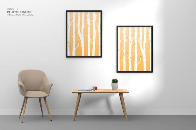 Soggiorno moderno e semplice con cornice per poster mockup