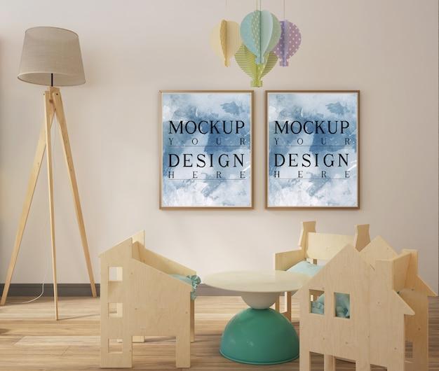 Moderna sala giochi semplice con cornice mockup