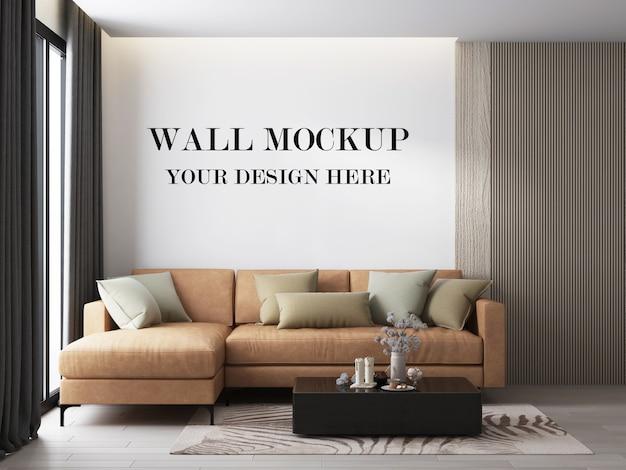 Rendering 3d di mockup 3d della parete del salotto moderno Psd Premium