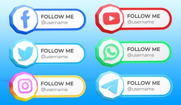 Set di raccolta del terzo inferiore dei social media moderni