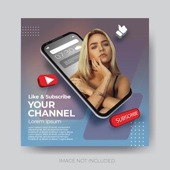 Modello di canale youtube per social media moderno