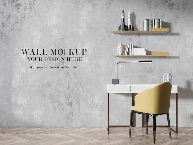 Mockup moderno della parete della sala studio nella rappresentazione 3d