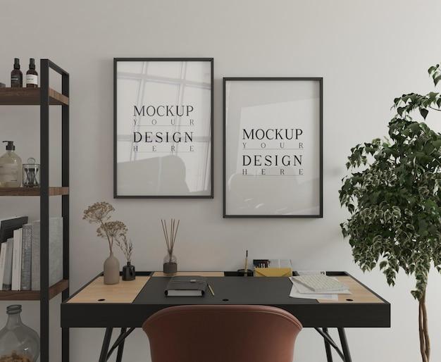 Moderna sala studio con scrivania e mockup poster 3d rendering