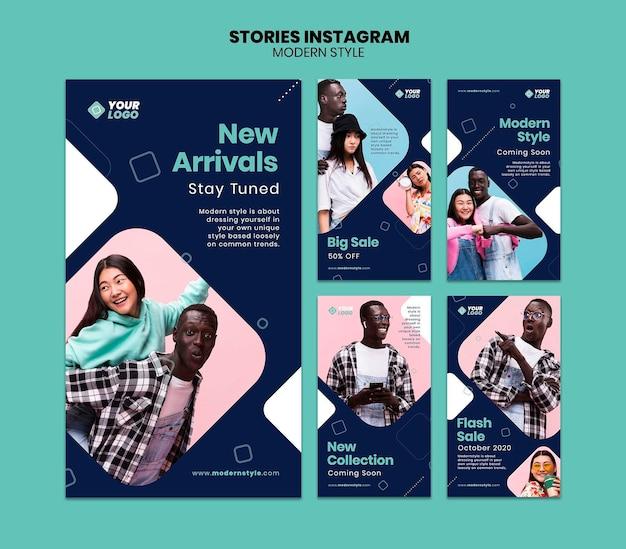 Modello di storie di instagram di concetto di stile moderno