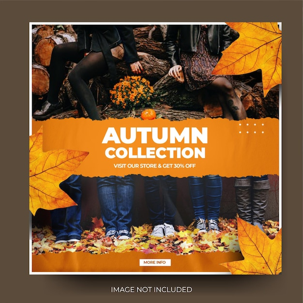 Moderna carta strappata autunno moda vendita instagram social media post feed