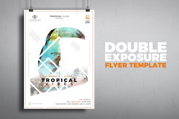 Modello di volantino moderno a doppia esposizione tropicale