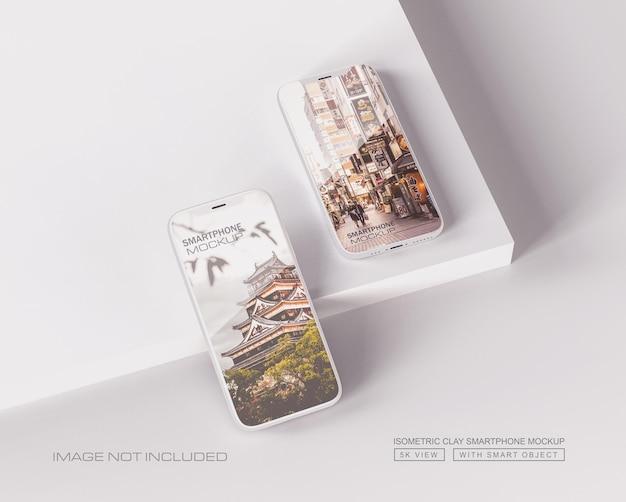 Vista isolata moderna del modello dello schermo del telefono dell'argilla bianca psd premium