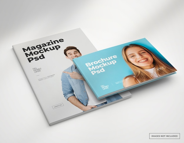 Mokcup di brochure e copertine di riviste