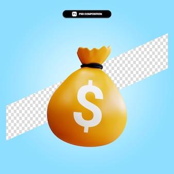 Il sacchetto dei soldi 3d rende l'illustrazione isolata