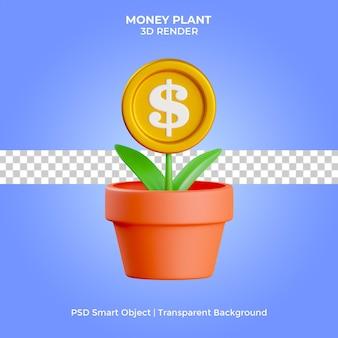 L'illustrazione 3d della pianta dei soldi rende la psd premium isolata