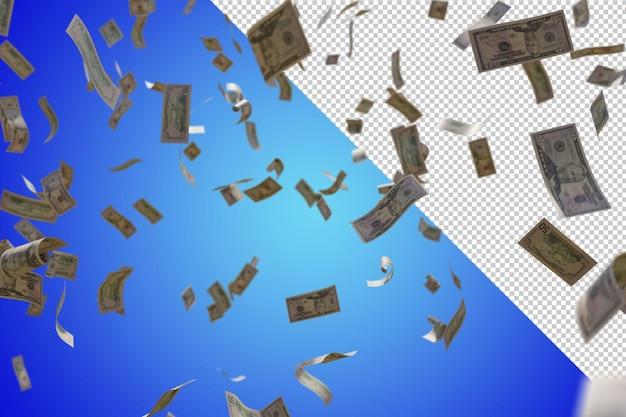 Rendering 3d di pioggia di soldi isolato