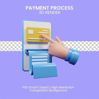 Processo di transazione di denaro. processo di pagamento. illustrazione 3d