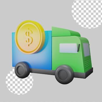Illustrazione 3d del concetto di camion dei soldi