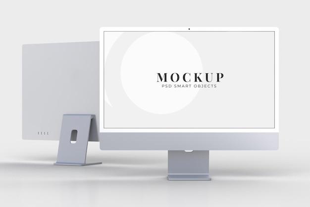Monitor modello mockup da 24 pollici per il marchio di presentazione, identità aziendale, pubblicità, attività di branding. rendering 3d