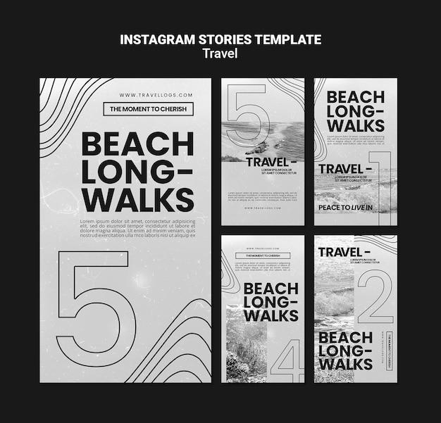 Collezione di storie instagram monocromatiche per rilassanti passeggiate sulla spiaggia