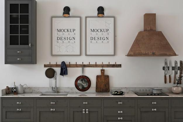 Cucina monocromatica con mockup di foto cornice
