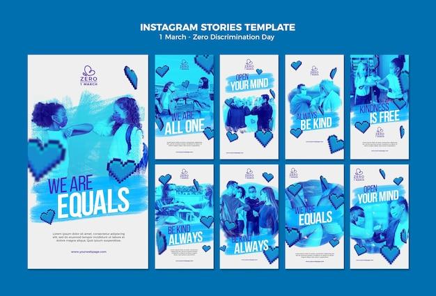 Modello monocromatico di storie di instagram di giorno di discriminazione zero