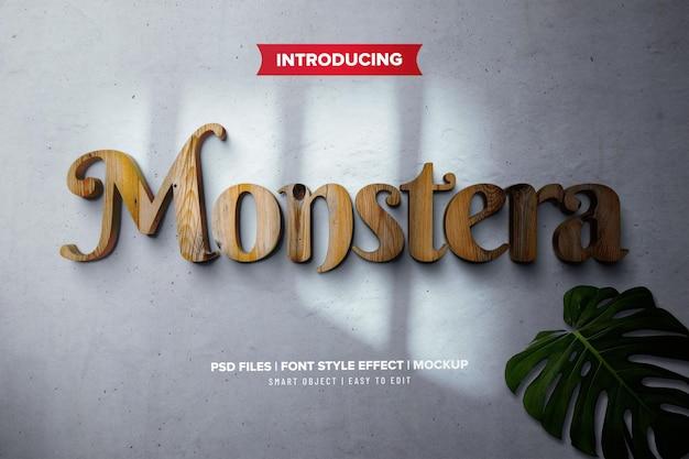 Effetto font in legno naturale monstera