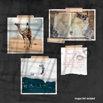 Mockup di presentazione del mood board in vecchio cartone nero Psd Premium