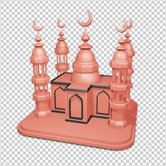 Rendering 3d della moschea psd premium