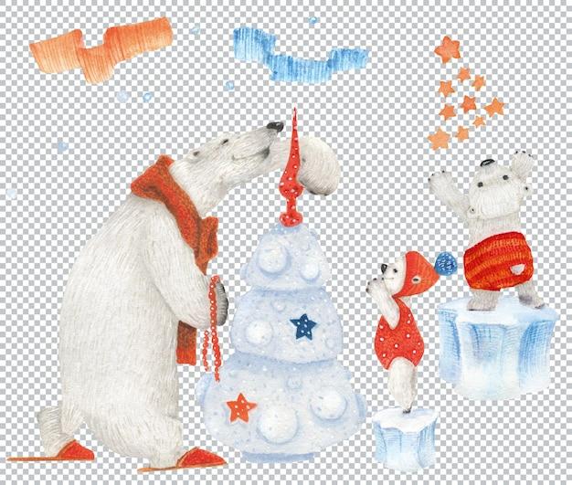 Mamma orsa e cuccioli decorano l'albero di natale
