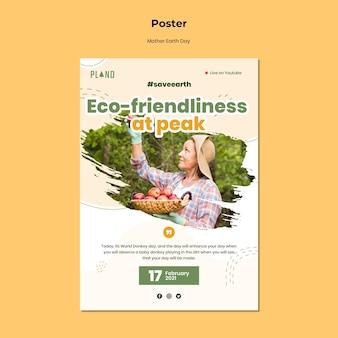 Modello di poster di madre terra giorno con foto