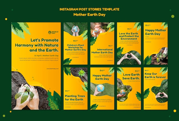 Set di storie sui social media per la giornata della madre terra Psd Premium
